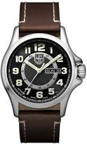 Luminox 1801.NV Men's Land Field Automatic Day Date 1800 Black Dial Brown Leather Strap Watch