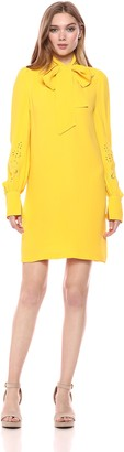 French Connection Women's Amrita Crepe Solid Color Long Sleeve Dress
