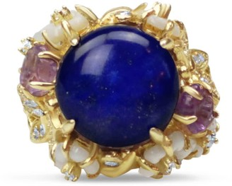 Bellus Domina Gold Plated Lapis Lazuli Cocktail Ring
