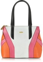 Pinko Miss Isabel Color Block Embossed Leather Tote Bag