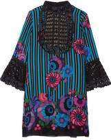 Anna Sui Lace-paneled Printed Silk-gauze Mini Dress - Blue