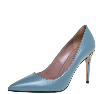 Gucci Blue Leather Horsebit Heel Pointed Toe Pumps Size 35.5