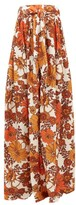 Dodo Bar Or Zaza Floral-print Pleated Strapless Maxi Dress - Womens - Brown Print