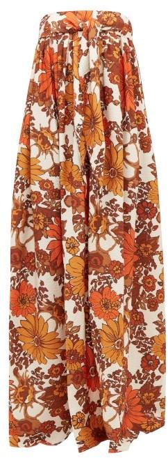 Dodo Bar Or Zaza Floral-print Pleated Strapless Maxi Dress - Brown Print