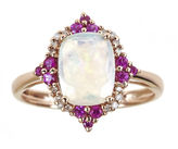 JCPenney FINE JEWELRY LIMITED QUANTITIES Genuine Australian Opal and Lead Glass-Filled Hot Pink Ruby Ring