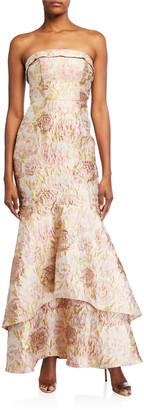 Aidan Mattox Strapless Flounce-Hem Jacquard Gown