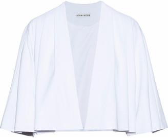 Alice + Olivia Marjory Cropped Pleated Crepe Jacket