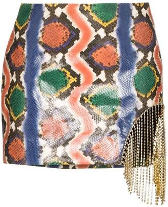 Area Snake-Embossed Embellished Mini Skirt