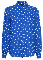 Dorothy Perkins Womens Cobalt Balloon Sleeve Spot Print Shirt, Cobalt