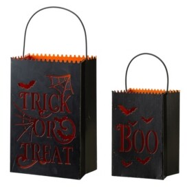 Glitzhome Halloween Metal Trick or Treat Bucket, Set of 2