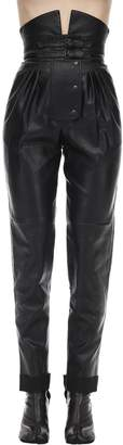 Maison Margiela High Waist Faux Leather Pants