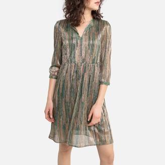 See U Soon Metallic V-Neck Midi Dress with Long Sleeves