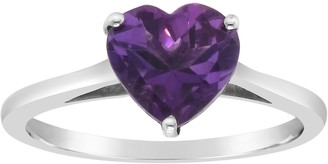 Sterling Silver Heart-Shaped Gemstone Ring