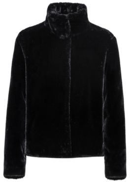 HUGO BOSS Faux Fur Jacket With Concealed Closure - Black
