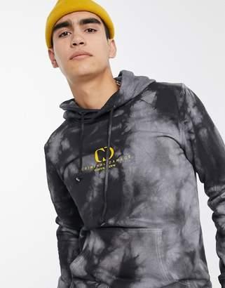 Criminal Damage splash tie dye hoodie gray and black