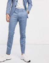 Selected slim fit stretch suit pants in light blue