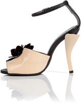 Fendi Leather Flower Embellished Sandals