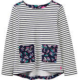 Joules Little Joule Girls' Print Mix Top, French Navy