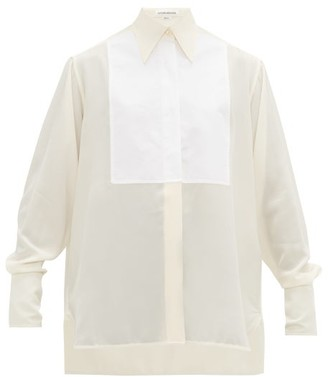 Victoria Beckham Bib-front Silk Crepe De Chine Shirt - Womens - Ivory