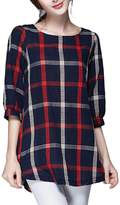ZANLICE Women's Loose Plaid Half Sleeve Crew Neck Tunic Top