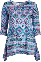 Glam Pink & Teal Scarf Print Sidetail Tunic - Plus