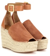 Chloé Suede and leather wedge espadrilles