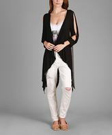 Aster Black & Gray Draped Cutout Open Cardigan - Plus Too