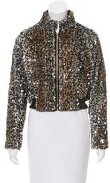 Talbot Runhof Leather-Trimmed Faux Fur Jacket