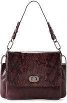 Badgley Mischka Coralie Snake-Flap Shoulder Bag, Aubergine