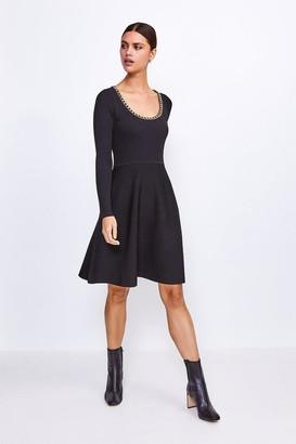 Karen Millen Chain Scoop Neck Knitted Skater Dress