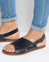 Asos Sandals in Black Leather With Cross Over Strap