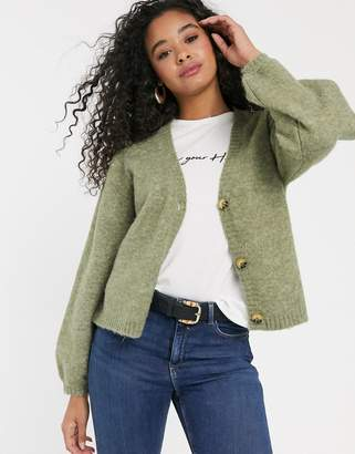 Pieces cardigan with balloon sleeves in sage green