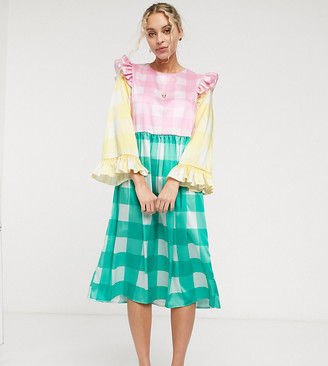 Twisted Wunder midi smock dress in blocked check