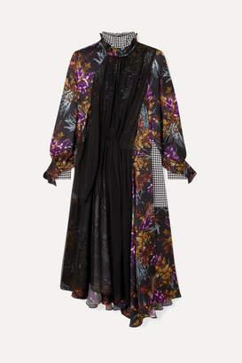 Balenciaga Night Leaves Bow-detailed Layered Silk-jacquard, Crepe And Silk-chiffon Dress - Purple