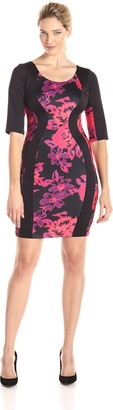 Sangria Women's Floral Print Color Block Scuba Sheath Dress