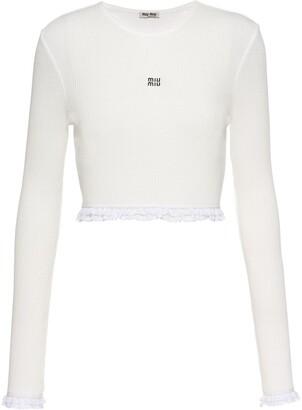 Miu Miu Embroidered Ribbed Jersey Top