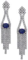 Nina Silver-Tone Cubic Zirconia and Blue Stone Fringe Drop Earrings