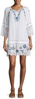 Calypso St. Barth Tamtam 3/4-Sleeve Embroidered Dress, Coconut