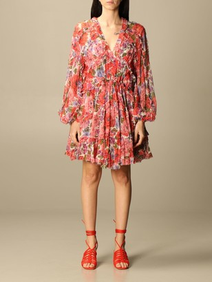 Zimmermann Short Dress In Floral Patterned Silk