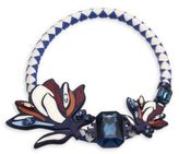 Tory Burch Abstract Floral Leather & Crystal Statement Necklace