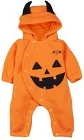 Lestore Halloween Pumpkin Hooded Jumpsuit Christmas Romper Outifts (0-6 Months)