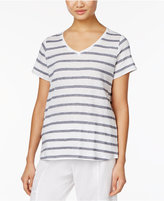 Eileen Fisher Striped Linen-Blend T-Shirt, a Macy's Exclusive Style