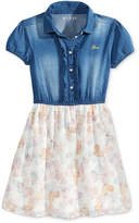 GUESS Denim Chiffon Dress, Big Girls