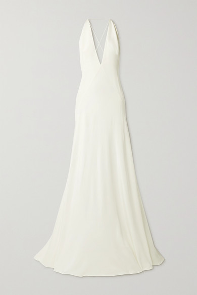 Thumbnail for your product : Michael Lo Sordo Alexandra Silk Crepe De Chine Gown - Ivory