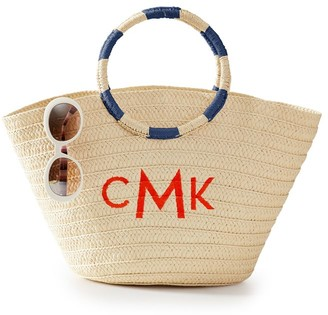 Mark And Graham Striped Handle Straw Beach Tote
