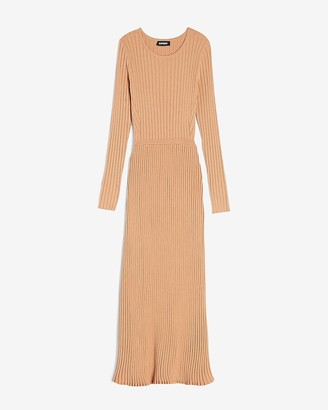 Express Ribbed Long Sleeve Maxi Sweater Dress