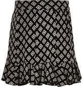 River Island Girls Black mono print flippy skirt