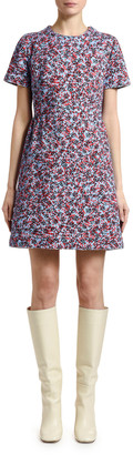 Marni Inate Floral-Print Denim Short-Sleeve Dress