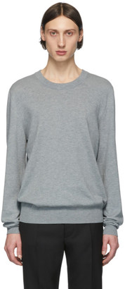 Maison Margiela Grey Leather Elbow Patch Sweater