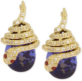 Betsey Johnson Gold-Tone Pavé Snake Blue Stone Drop Earrings